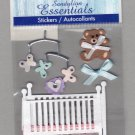 Sandylion Essentials Scrapbooking Stickers BABY CRIB newborn teddy bear infant 3D - ES07