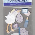 Sandylion Essentials Scrapbooking Stickers BABY stork bottle newborn infant 3D - ES08