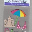 Sandylion Essentials Scrapbooking Stickers BEACH sand castle bikini umbrella bucket shovel 3D - ES12