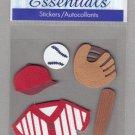 Sandylion Essentials Scrapbooking Stickers BASEBALL glove bat ball hat sports 3D - ES14