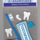 Sandylion Essentials Scrapbooking Sticker TOOTH CARE floss toothpaste brush dental dentist 3D - ES17