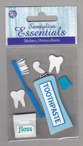 Sandylion Essentials Scrapbooking Sticker TOOTH CARE floss toothpaste brush dental dentist 3D - ES17