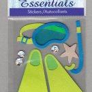 Sandylion Essentials Scrapbooking Stickers SNORKELLING scuba diving fins mask sports 3D - ES18