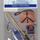 Sandylion Essentials Scrapbooking Stickers FISHING worms bobbin pole fish sports 3D - ES28