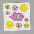 Sandylion Money Coins Piggy Bank Stickers Rare Vintage PM412