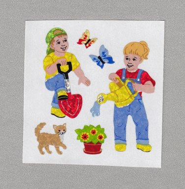 Sandylion Children in the Garden Stickers Rare Vintage PM492
