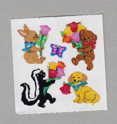 Sandylion Animals with Tulips Stickers Rare Vintage PM512