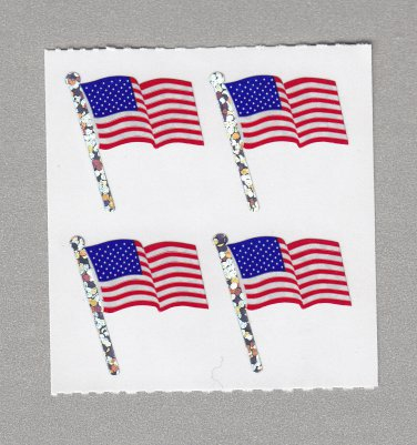 Sandylion American Flag with Pole Stickers Rare Vintage PM523