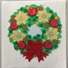 Sandylion Christmas Wreath With Bow Nuts Flowers Retro Rare Vintage XPM439