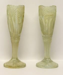 Lemon Yellow Slag Glass Opalescent Vases 1 Pair Vintage Collectible