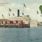 New York Boat Leaving Dock Providence Rhode Island Paper Ephemera 1912 Postcard