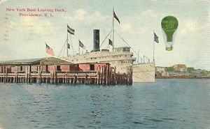 New York Boat Leaving Dock Providence Rhode Island Paper Ephemera 1912 Postcard