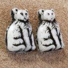 1920s-30s Czech Glass Cat beads 16mm pair
