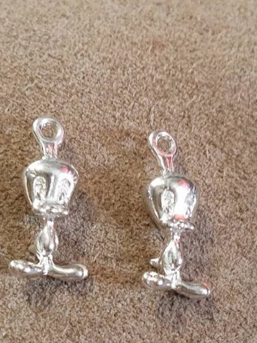 "1960s 3/4"" tall metal Tweety Bird Charms 1 pair"
