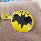 "Vintage larger 1 1/2"" diameter tin 1966 Batman Bat Signal pin Yellow 1 PIN"