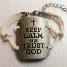 KEEP CALM AND TRUST GOD ADJUSTABLE HANDMADE BRACELET (WHITE)