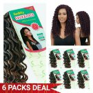 """6 PACKS DEAL => CURLY FAUX LOCS SYNTHETIC CROCHET BRAIDING HAIR 18"""" 24 STRANDS T1B/30"""
