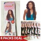 "8 PACKS DEAL => 2X MAMBO NATURAL DREAD LOCS CROCHET BRAIDING HAIR 18"" 15 STRANDS 1B (OFF BLACK)"