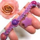 Braided Hemp Twist Choker Rose Pink Lavender Purple Beaded Star Charm Pendant Adjustable