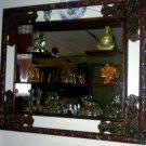 Antique Hand Carved Rosewood 3 Shelf Framed Mirror
