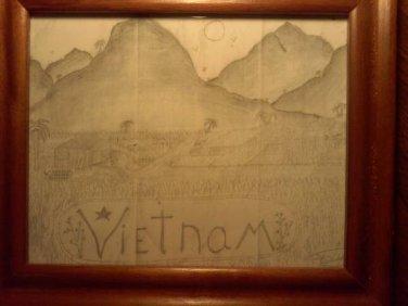 Framed Vietnam Farm Hand Drawn Prison Art Print