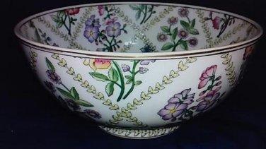 Large Vintage 10 inch Chinese Ceramic Floral Bowl