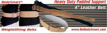 """Weightlifting Backsupport Belt 4"""" Padded Leather"""