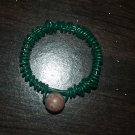 Beaded wire green pinkie ring