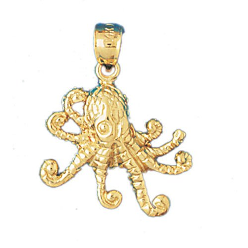 14K GOLD NAUTICAL CHARM - OCTOPUS #347