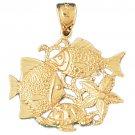 14K GOLD NAUTICAL CHARM - FISH #716