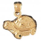 14K GOLD NAUTICAL CHARM - TURTLE #1013