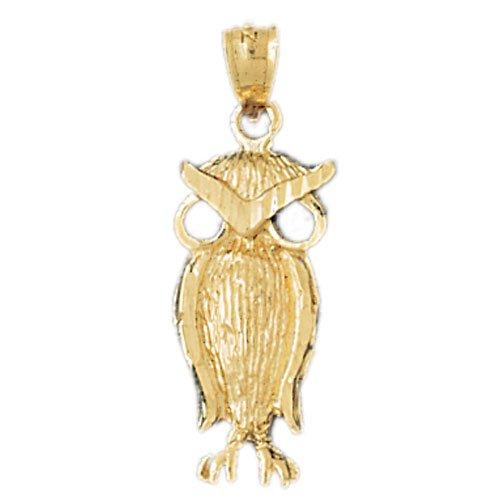 14K GOLD BIRD CHARM - OWL #3068