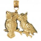 14K GOLD BIRD CHARM - OWL #3056