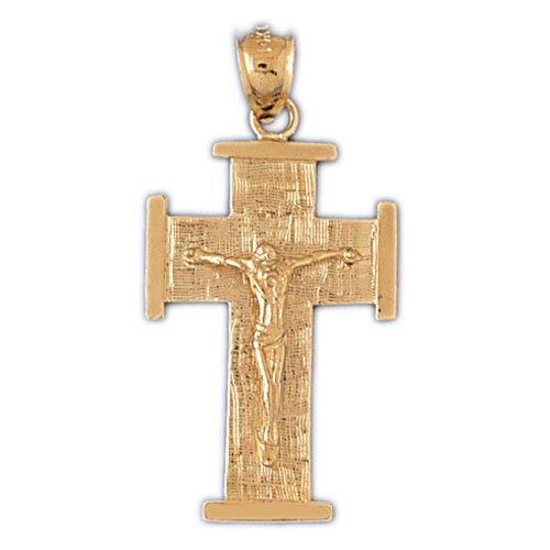 14K GOLD RELIGIOUS CHARM - CRUCIFIX #8453
