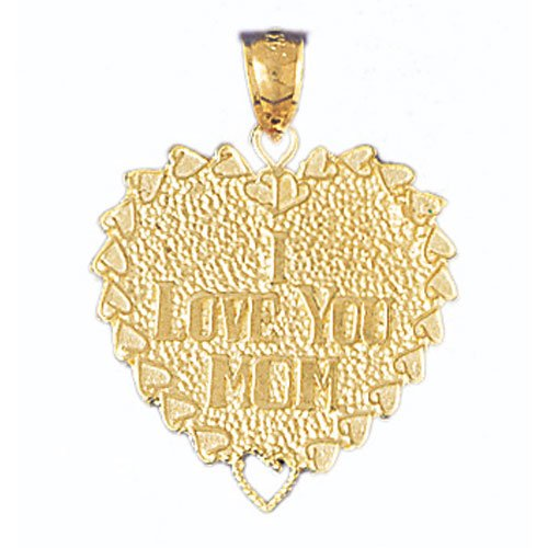 14K GOLD SAYING CHARM - I LOVE YOU MOM #9701
