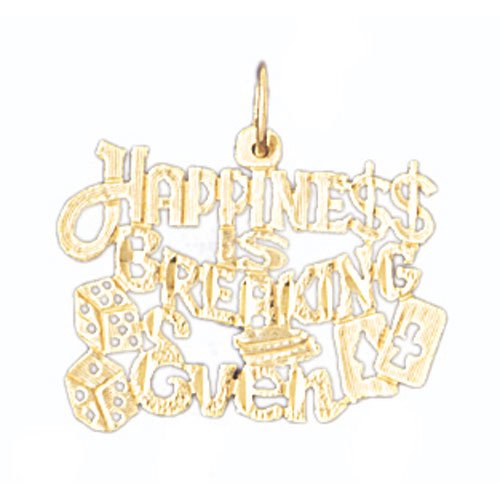 14K GOLD SAYING CHARM - HAPPINESS IS BREAKING EVEN #10667