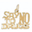 14K GOLD SAYING CHARM - SAY NO TO DRUGS #10505
