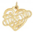 14K GOLD SAYING CHARM - I LOVE YOU #10163