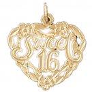 14K GOLD SAYING CHARM - SWEET 16 #10338