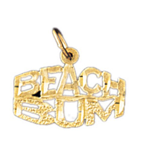 14K GOLD SAYING CHARM - BEACH BUM #10867