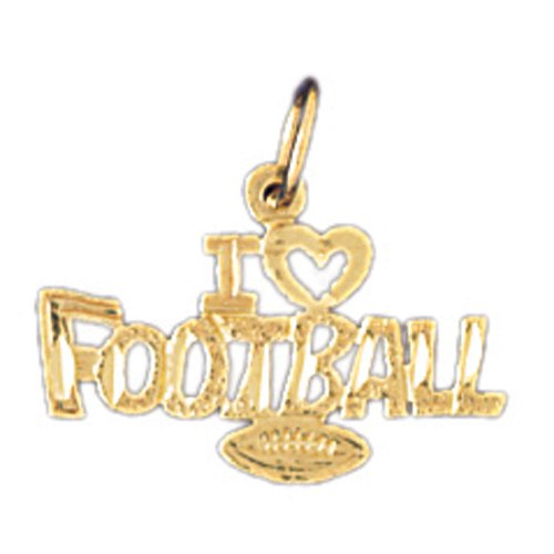14K GOLD SAYING CHARM - I LOVE FOOTBALL #10848