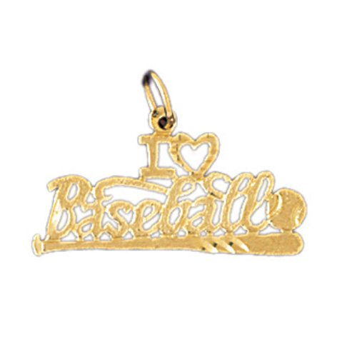 14K GOLD SAYING CHARM - I LOVE BASEBALL #10841