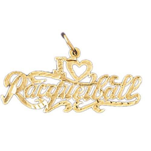 14K GOLD SAYING CHARM - I LOVE RACQUETBALL #10839