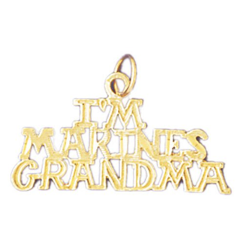 14K GOLD SAYING CHARM - I'M A MARINES GRANDMA #10901