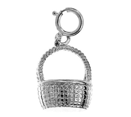 14K WHITE GOLD BASKET CHARM #11193
