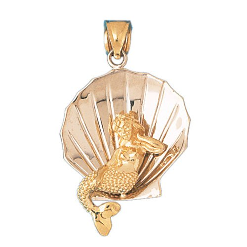 14K GOLD TWO TONE NAUTICAL CHARM - SHELL & MERMAID #178