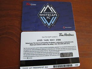 TIM HORTONS / TIM HORTON'S COLLECTOR GIFT CARD - Whitecaps FC NEW FD42336