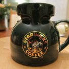 Starbucks Dark Green Ceramic Mug with Gold Mermaid Logo Starbucks - UNIQUE SHAPE