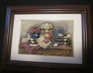 "Framed Ceramic Artwork by Cherison, Matted, Mahogany Frame, Hand made 9"" x 7"""