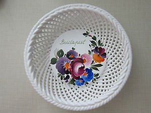 Hungarian Reticulated Basket or Bowl Hand Painted, Hand Made, Floral Pattern
